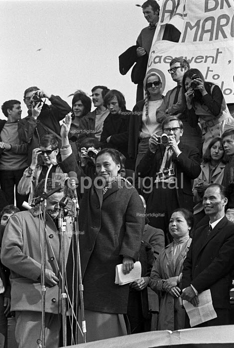 Madame Nguyen Thi Binh, National Liberation Front (NFL) of Vietnam speaking to CND Easter March from Cardiff to London, Trafalgar Square. After the defeat of the USA, she became vice-president of Vietnam. April 1969 - NLA - 1969-04-07