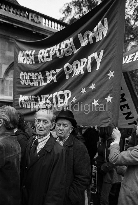 Irish Republican Socialist Party Manchester banner. Committee for Withdrawal from Ireland protest, London. - Philip Wolmuth - 1980-11-15