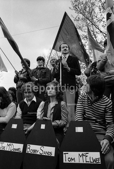 GLC leader Ken Livingstone speaking at Commemoration for Northern Ireland hunger striker Bobby Sands, London 1982 - Philip Wolmuth - 1982-05-08