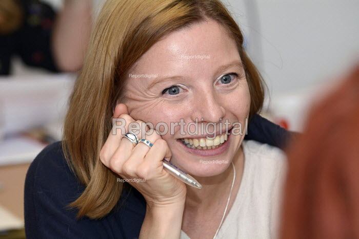 Woman in discussion, BECTU Women's conference, London 2015 - Janina Struk - 2015-11-21