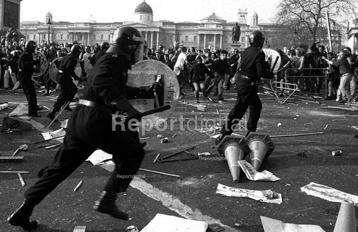 Poll Tax riot Trafalgar Square London 1990 Police charge protest - Paul Mattsson - 1990-03-31