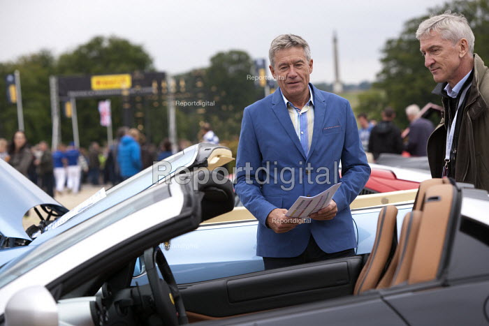 Tiff Needell TV presenter looking at Salon Prive Supercar Show Blenheim Palace Oxfordshire - John Harris - 2015-09-05