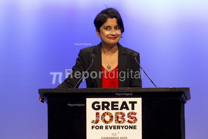 Shami Chakrabarti, Liberty speaking at TUC conference Brighton. - Jess Hurd - 2015-09-16