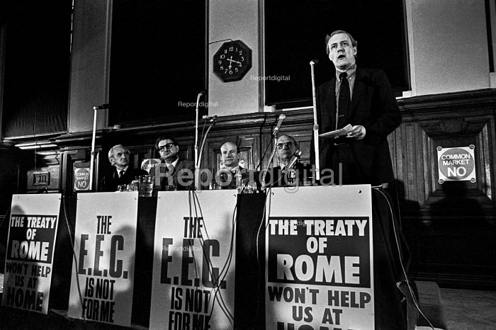 Labour MP Tony Benn opposing the Common Market, speaking at a Labour Party Special conference on EEC membership (later European Union) - Martin Mayer - 1975-04-25