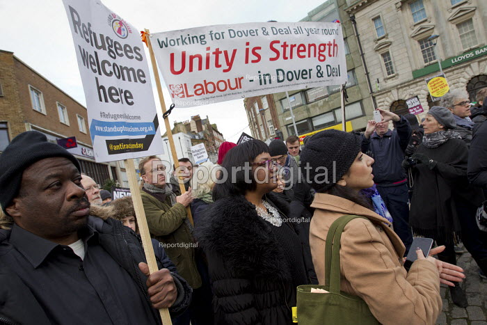 Weyman Bennett and Diane Abbott MP Kent Anti Racism Network protest against National Front anti refugee protest Dover - Jess Hurd - 2016-01-30