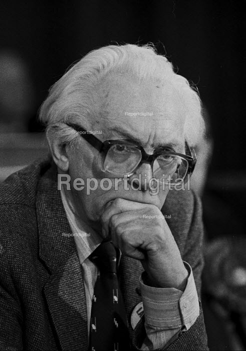 Thoughtful Michael Foot MP Labour Party election campaign Nuneaton 1983 - John Harris - 1983-06-09