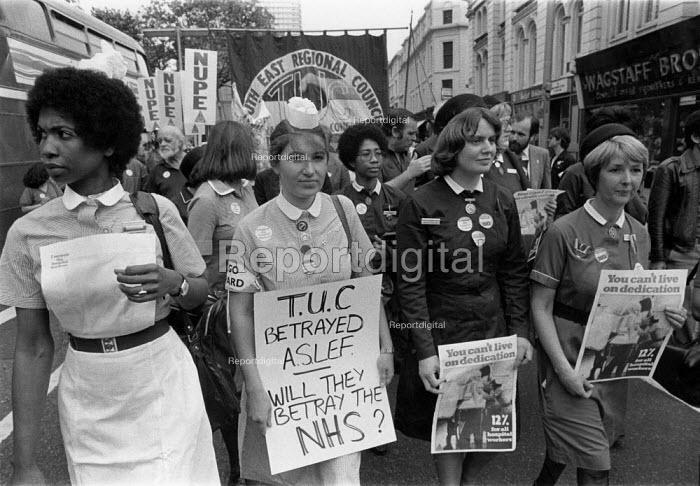 Nurses protest TUC day of action, heath workers pay claim, London 1982 - John Harris - 1982-09-22