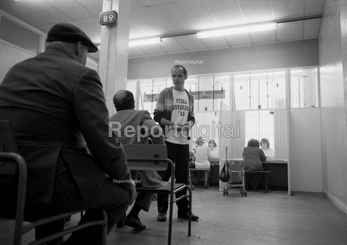 Unemployed waiting at a DHSS benefit office Coventry as the recession intensifies 1982 - John Harris - 1986-12-24