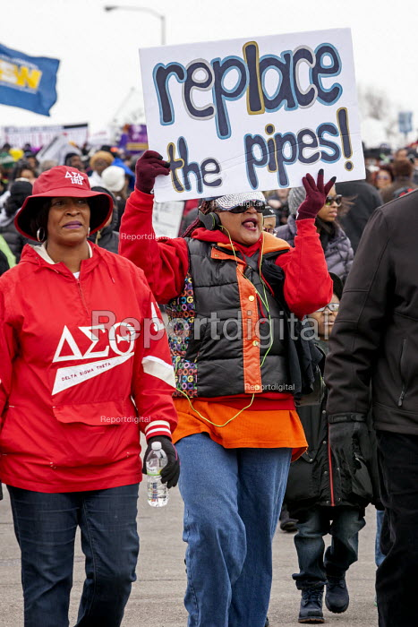 Flint Michigan Residents marching to demand the rebuilding of the City water infrastructure - Jim West - 2016-02-19