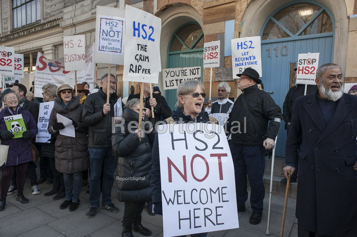 Local residents protest at the opening of HS2 publicity office, Euston, London - Philip Wolmuth - 2016-02-24