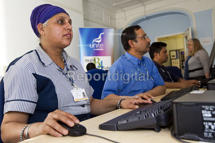 NHS domestic assistants in a Literacy and numeracy class. Union Learning Centre, West London Mental Health NHS Trust, St Bernards Hospital, Southall. London. - Jess Hurd - 2012-03-23