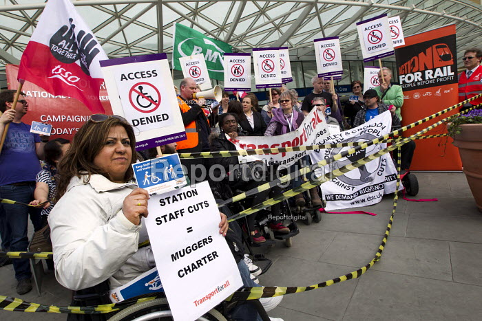 Action for Rail campaigning for accessibility for disabled people and against station staff cuts, King's Cross. London. - Jess Hurd - 2013-04-24