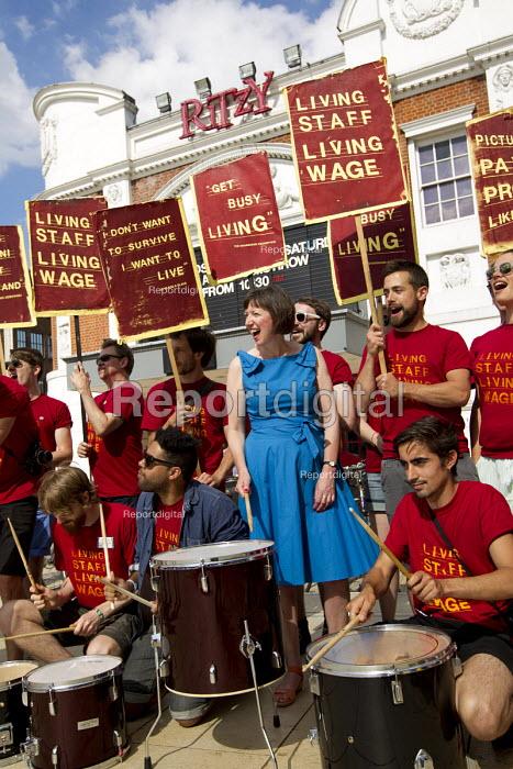 Frances O'Grady TUC Gen Sec visiting Ritzy workers picket line, BECTU strike over London Living Wage. Brixton, South London - Jess Hurd - 2014-06-21