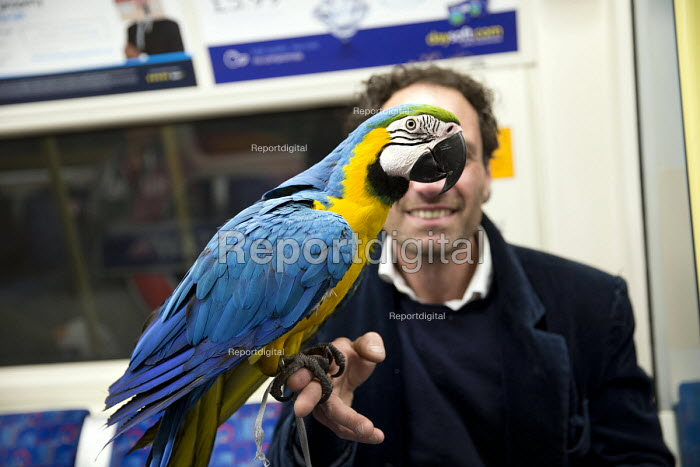 Italian entertainer with his macaw parrot, Jubillee Line, London Underground, London - Jess Hurd - 2016-03-07