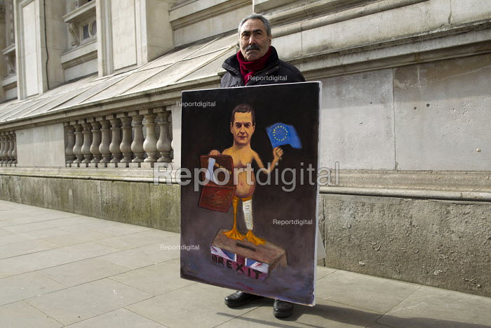 Artist Kaya Mar with satirical painting of Chancellor George Osborne and 2016 Budget, Westminster, London - Jess Hurd - 2016-03-16