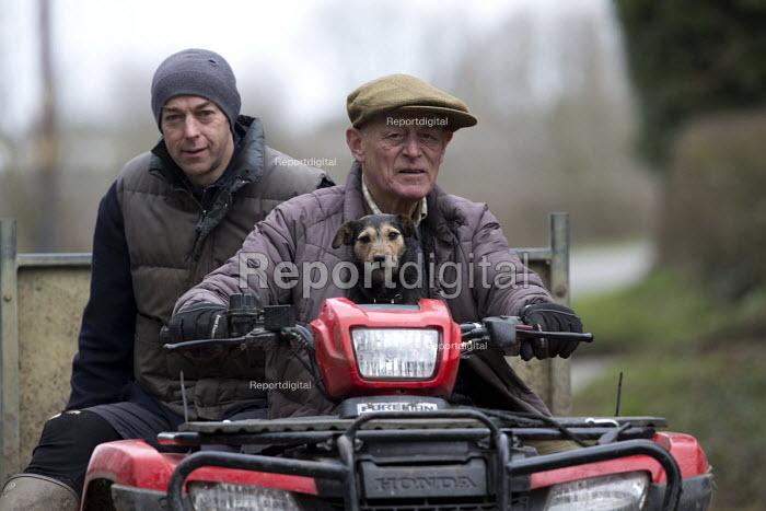 Farmer with his dog a quad bike, Warwickshire - John Harris - 2016-03-21