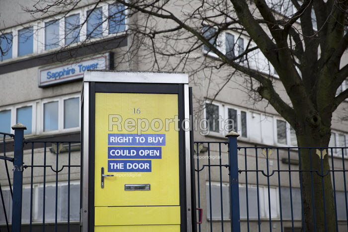 Right to Buy government advertisement encouraging council tenants to buy their homes, side of a telephone box, Aston, Birmingham - Jess Hurd - 2016-03-27