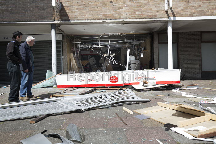 Post office blown up by thieves targeting the cash machine. Shirehampton, Bristol. Post master and Police officer - Paul Box - 2016-04-26