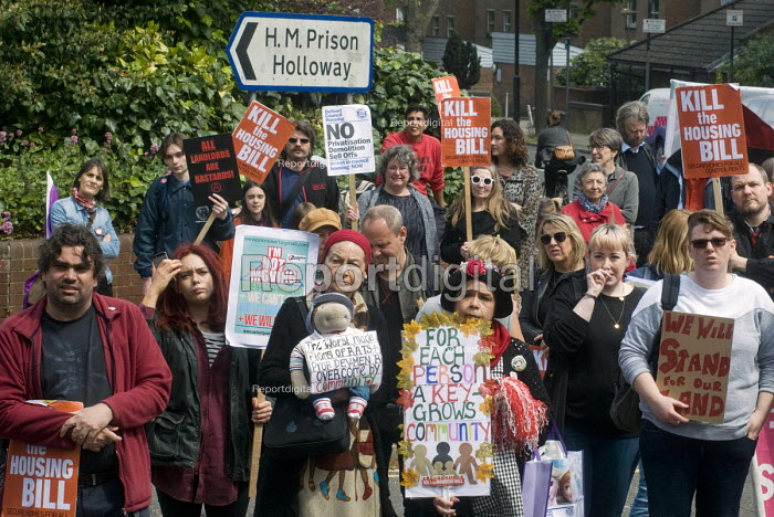 March to Holloway Prison which is to be sold off for housing development, protest against the Housing Bill, in support of council housing and affordable rents for all tenants - Stefano Cagnoni - 2016-05-14