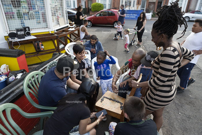 Street party at a corner shop, Coventry, playing draughts - John Harris - 2016-05-08