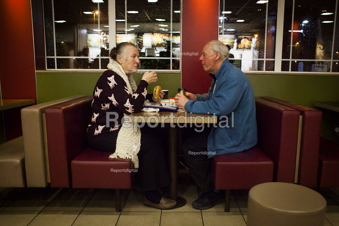 An elderly couple enjoy a McDonalds meal, Sheffield, Yorkshire - Connor Matheson - 2016-01-16