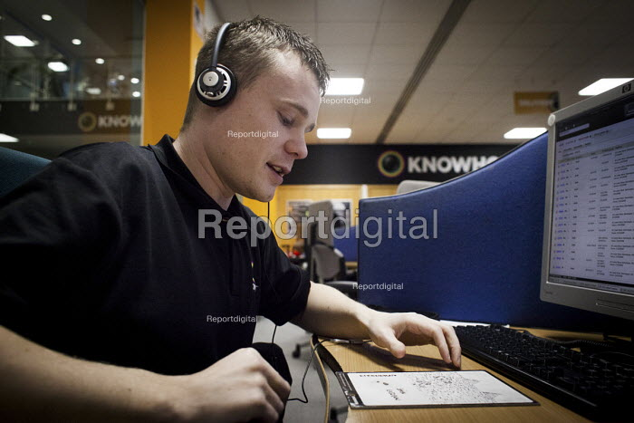 Customer Service team workers, KnowHow call centre, Sheffield, Yorkshire - Connor Matheson