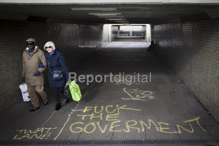 Political graffiti on the floor of an underpass tunnel, Sheffield, Yorkshire - Connor Matheson - 2016-04-12