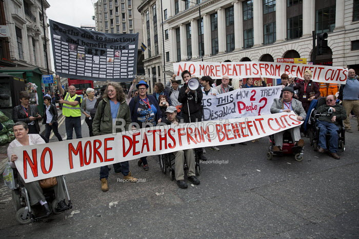 TUC Disabled Workers Conference and DPAC protest blocking Tottenham Court Road against benefit cuts and related deaths. London. - Jess Hurd - 2016-05-19