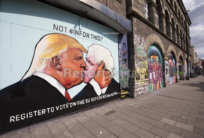 Graffiti depicting Donald Trump kissing Boris Johnson, EU referendum debate, Bristol, Register to vote on the EU referendum now! - Paul Box - 2016-05-24