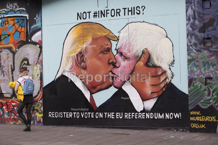 Graffiti depicting Donald Trump kissing Boris Johnson, EU referendum debate, Bristol, Register to vote on the EU referendum now! - Paul Box - 2016-05-24