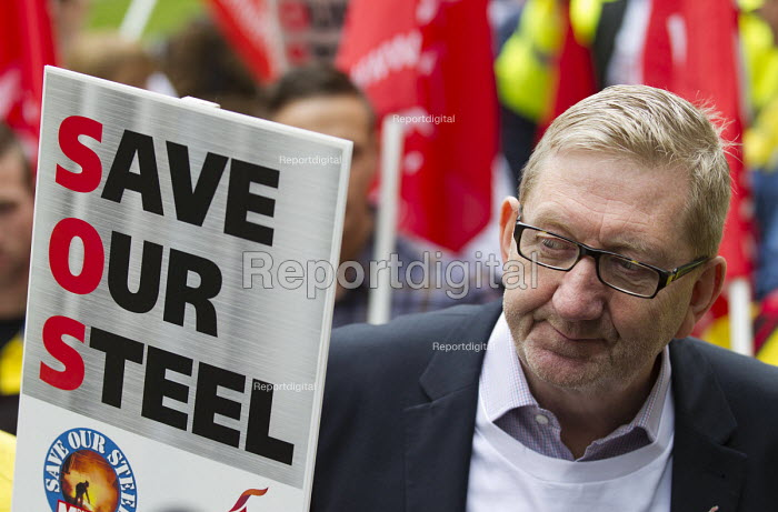 Len McCluskey, UNITE with Steelworkers marching to demand government support the steel industry, Save Our Steel, Westminster, London. - Jess Hurd - 2016-05-25