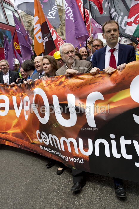 Jeremy Corbyn MP with steelworkers marching to demand government support the steel industry, Save Our Steel, Westminster, London. - Jess Hurd - 2016-05-25