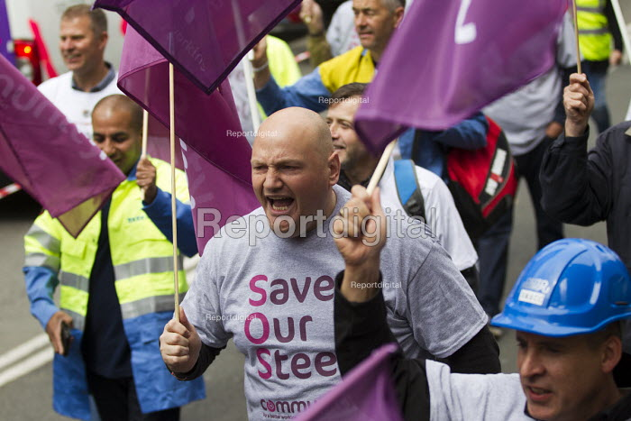 Steelworkers marching to demand government support the steel industry, Save Our Steel, Westminster, London. - Jess Hurd - 2016-05-25