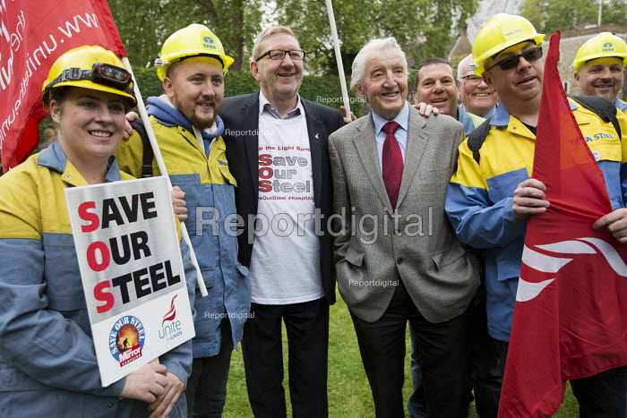 Dennis Skinner MP and Len McCluskey with steelworkers marching to demand government support the steel industry, Save Our Steel, Westminster, London. - Jess Hurd - 2016-05-25