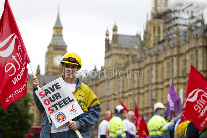 Charlotte Upton, Unite. Steelworkers marching to demand government support the steel industry, Save Our Steel, Westminster, London. - Jess Hurd - 2016-05-25