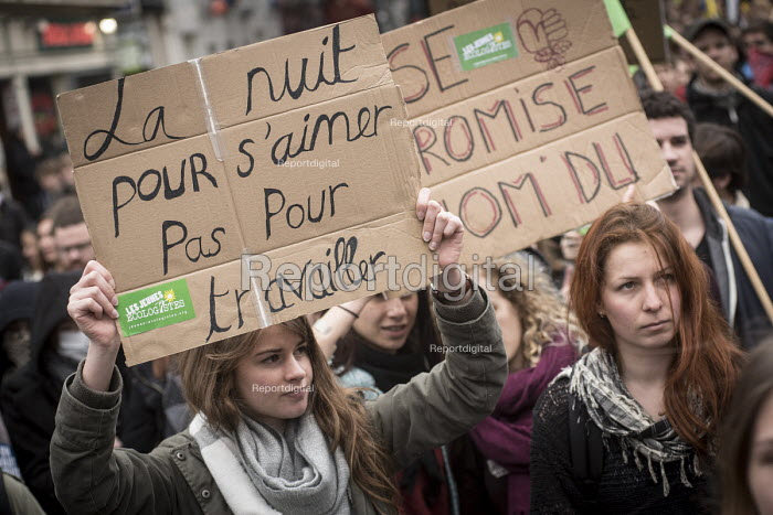 Students protest against proposed labor reforms, France, The night is for love not work. Young ecologists - Jean Claude Moschetti - 2016-03-31