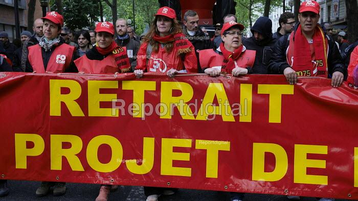FO Union protesting against proposed labor reforms, Paris France - Marta Nascimento - 2016-05-19