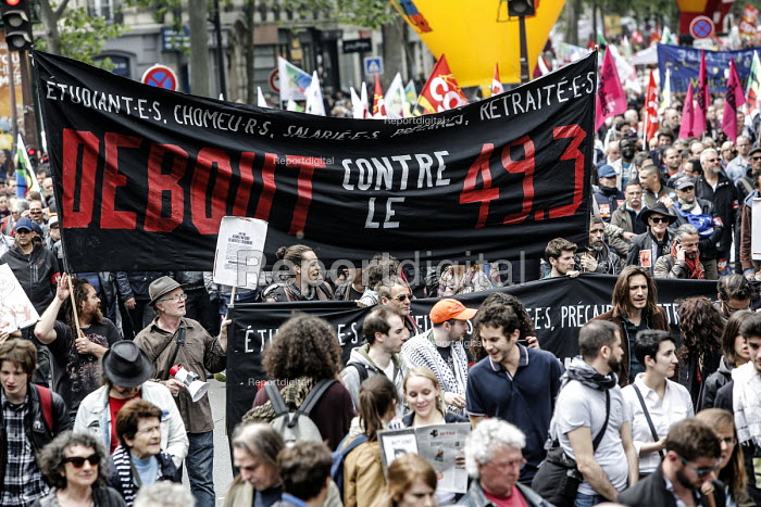 Union protest against proposed labor reforms, France. Against passing of the reform without discussion - Nicolas Tavernier - 2016-05-26