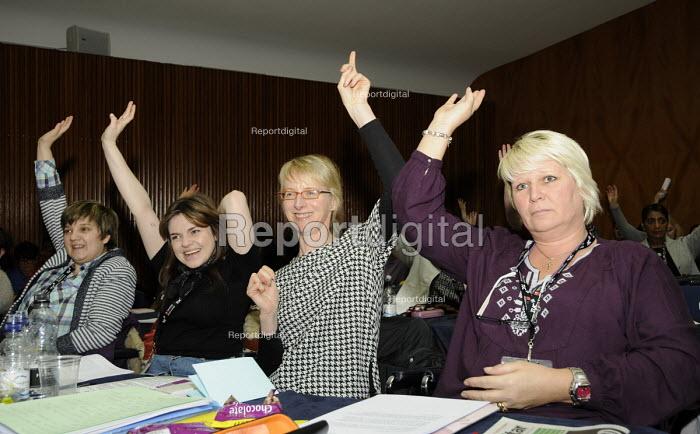 Delegates voting at the Women's TUC, 2015. - Janina Struk - 2015-03-13