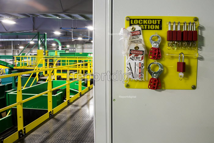 Southfield, Michigan, Lockout equipment, which prevents machinery from being operated during maintenance, ReCommunity materials recovery facility, where recyclable materials are sorted and baled. - Jim West - 2016-03-31