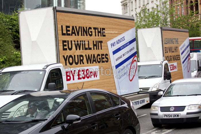 Better Off In, Britain In, Stronger Europe, TUC and Vote In campaign poster, mobile advertisement van, London. TUC Report says Brexit will have a negative impact on wages, jobs and rights at work. It finds that by 2030 the average weekly wage would be £38 lower if Britain leaves the EU. Launch of Better Off In, working people and the case for remaining in the EU - Jess Hurd - 2016-06-01