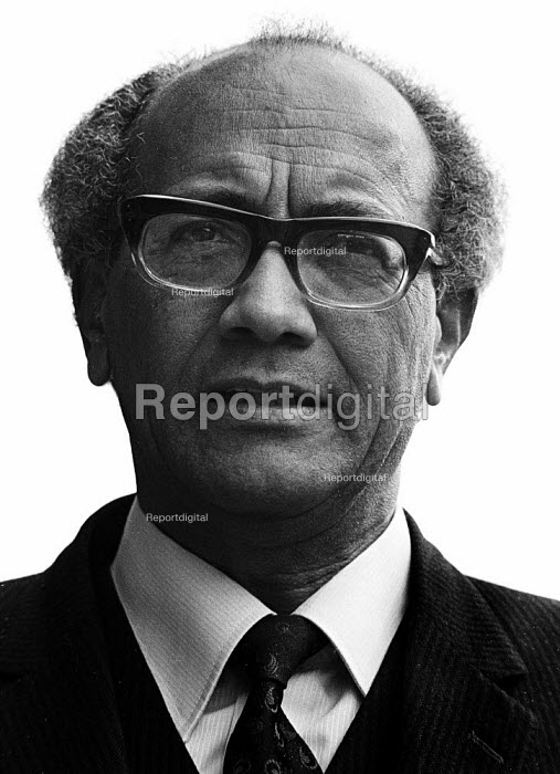 Reggie September, founder member of the South African Coloured Peoples Organisation in 1953 a member of the ANC and enemy of Apartheid, London, 1976. He was elected an MP in South Africa in 1994 - John Sturrock - 1976-05-13