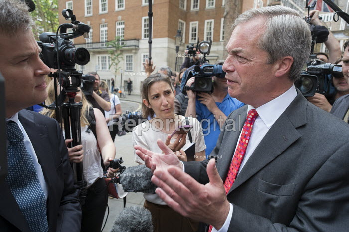 Nigel Farage interviewed at Launch of EU Referendum campaign poster, London - Philip Wolmuth - 2016-06-07