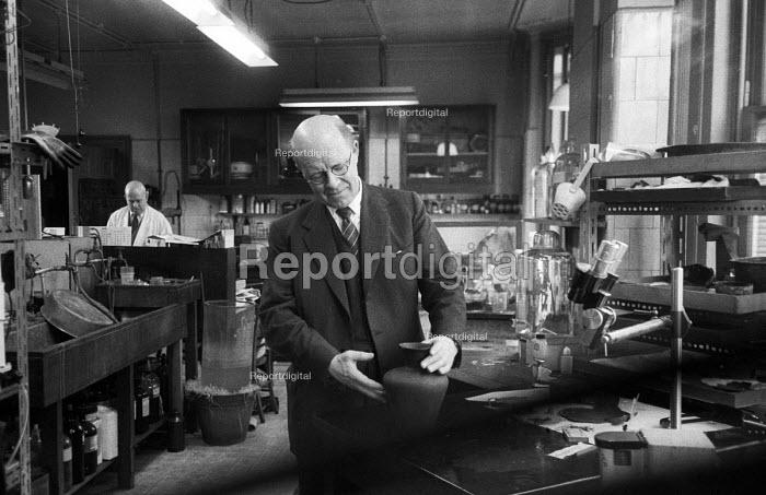 Chief Restorer Harold Plenderleith, keeper of the British Museum Research Laboratory working, London, 1959 - Alan Vines - 1959-02-27