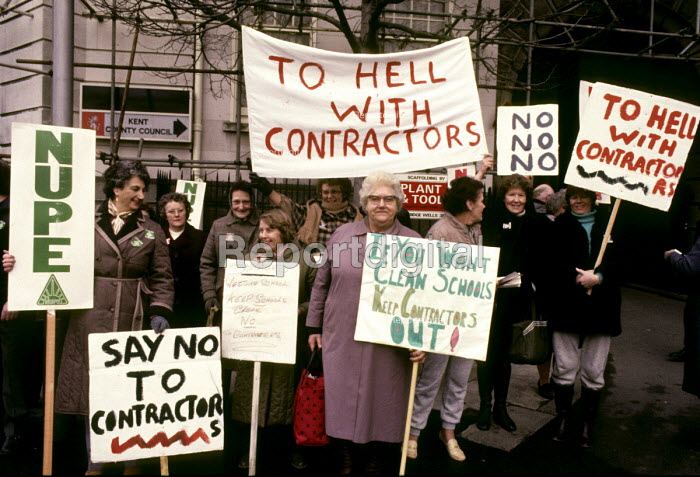 1984 NUPE members protest at losing their jobs to lower paid external contractors, County Hall, Maidstone Kent - Stefano Cagnoni - 1984-02-23