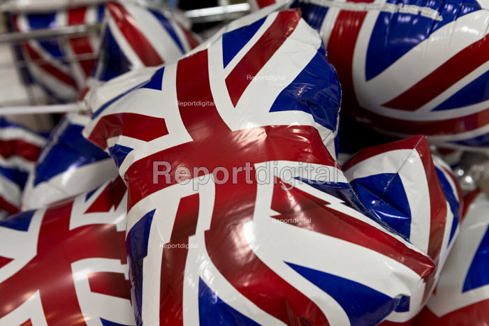 Inflatable Union Jack flags for sale to celebrate the Queen's Birthday. Queen Elizabeth II 90th birthday celebration weekend, Morrisons Supermarket, Stratford upon Avon - John Harris - 2016-06-11