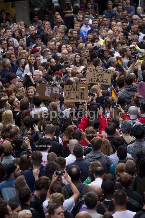 Thousands in vigil in Old Compton Street for the victims of the shooting at Pulse LGBT nightclub in Orlando, Florida. Soho, London. Love will win, Islamophobia is not the answer - Jess Hurd - 2016-06-13