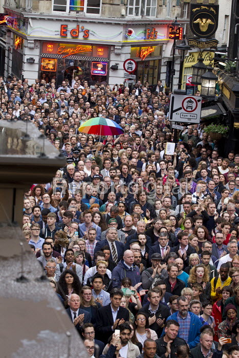 Ed Miliband MP and Michael Cashman join thousands in vigil in Old Compton Street for the victims of the shooting at Pulse LGBT nightclub in Orlando, Florida. Soho, London - Jess Hurd - 2016-06-13