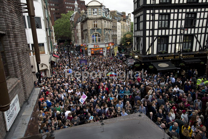 Thousands at a vigil in Old Compton Street following the mass shooting at Pulse LGBT nightclub in Orlando, Florida. Soho, London - Jess Hurd - 2016-06-13