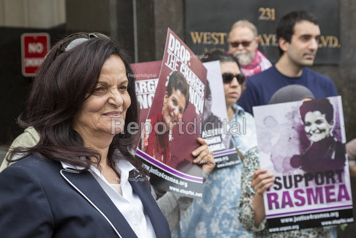 Detroit, Michigan USA, Protest in support of Palestinian American activist Rasmea Odeh (L) as a federal judge considers her request for a new trial. In 2015, Odeh was convicted of lying on her 2004 application for U.S. citizenship but during which testimony about her torture in an Israeli prison was improperly excluded - Jim West - 2016-06-13